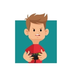 Cartoon boy playing video game with controller vector