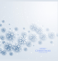elegant white background with flowing snowflakes vector image