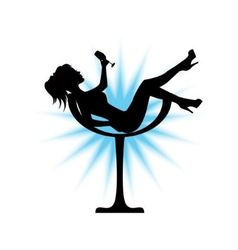 Female silhouette sits in a glass vector image