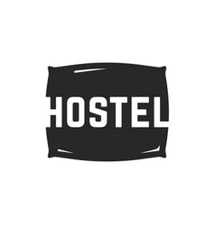 hostel logo with black pillow vector image