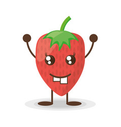 kawaii strawberry funny character vector image