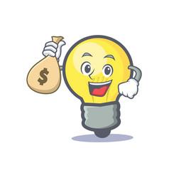 Light bulb character cartoon with money bag vector