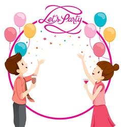 Man And Woman Happy With Party Decoration vector image