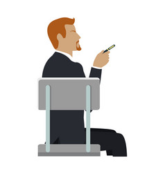 Man sitting on the chair and pointing by hand vector