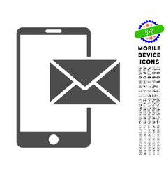 mobile mail icon with set vector image vector image