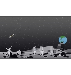 Moon space station astronauts vector
