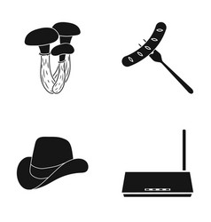 Mushrooms sausage and other web icon in black vector