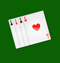 Playing cards casino poker with aces combination vector