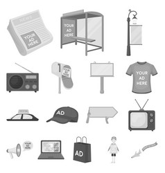 Production of advertising monochrome icons in set vector