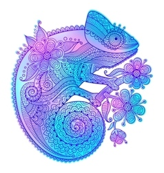 rainbow chameleon and vector image