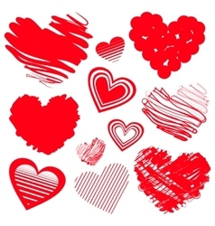 Red heart icons vector
