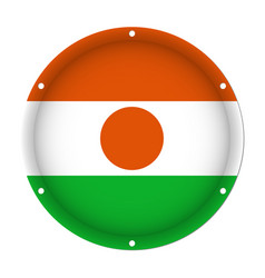 Round metallic flag of niger with screw holes vector