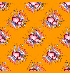seamless background pattern set of grunge hearts vector image