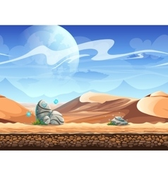 Seamless desert with stones and spaceships vector image vector image