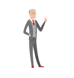 Senior caucasian businessman giving thumb up vector