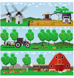 Set of farming concept design elements in vector
