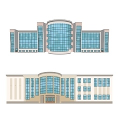 Set of two shopping centers or hotels vector