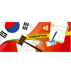 South korea fights corruption money bribery vector