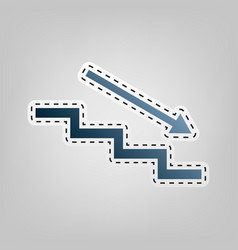Stair down with arrow blue icon with vector