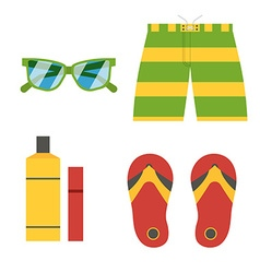 Summer Beach Accessories Icons vector image vector image