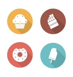 Sweets flat design icons set vector