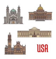 USA tourist attraction and architecture landmarks vector image vector image