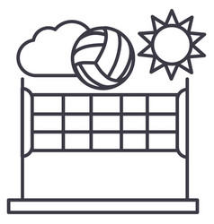 volleyballsummer sport line icon sign vector image