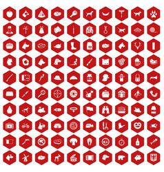 100 dog icons hexagon red vector