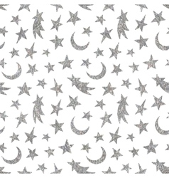 Silver textured cosmic seamless pattern vector