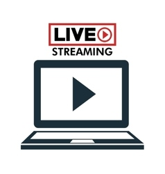 Laptop live streaming play multimedia vector