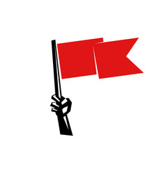hand holding a red flag vector image