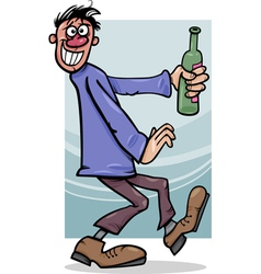 Drunk guy with bottle cartoon vector
