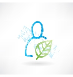 Person with plant grunge icon vector