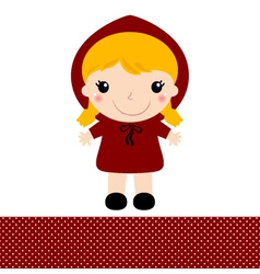 Cute retro red riding hood isolated on white vector