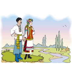 Ukrainian couple in colorful national costumes vector