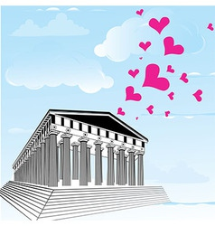 Greece acropolis with heart symbol of valentines d vector