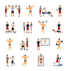 Gym trainer set vector