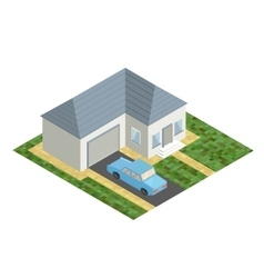 White isometric house with blue car isolated flat vector image