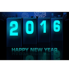 Blue new year greeting card vector