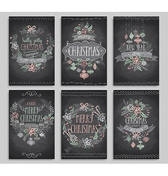 Set of christmas cards - chalkboard vector
