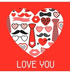 Happy valentines day greeting card hipster vector