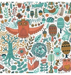 Forest and floral seamless pattern with animals vector
