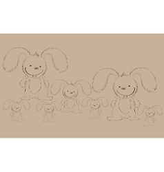 rabbits on old paper vector image