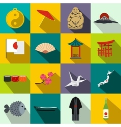 Japan icons set flat vector