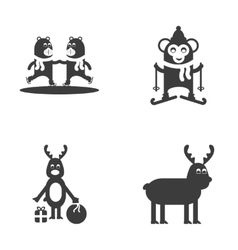 Set of flat icon black and white style animals vector image