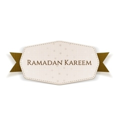 Ramadan kareem banner with text and ribbon vector