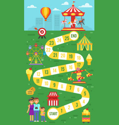 Amusement park board game template for print vector