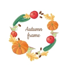Autumn frame fall fruits vegetables food harvest vector