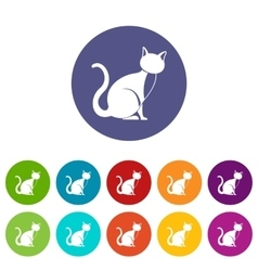 Black cat set icons vector image vector image