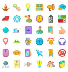Call center icons set cartoon style vector